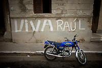 blue motorcycle in havana streets