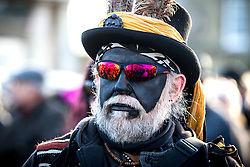 © Licensed to London News Pictures. 16/01/2016. Whittlesey UK. Picture shows one of the dancers who accompany the Straw Bear at The 37th Straw Bear festival takes place this weekend in Whittlesey. It was the custom to dress one of the confraternity of the plough in straw & call him a Straw Bear, He was made to dance in front of houses & gifts of money or beer & food for later consumption was expected. The present Straw Bear dances through the streets accompanied by his handler & numerous dancers such as Pig Dyke Molly & The Bourne Borderers. Photo credit: Andrew McCaren/LNP