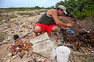 Cleaning crabs in Gibara, Holguin, Cuba.