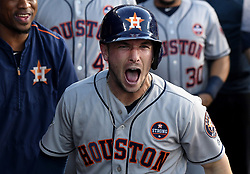 October 24, 2017 - Los Angeles, California, U.S. - Houston Astros' Alex Bregman reacts after hitting a solo home run against the Los Angeles Dodgers in the xxx inning of game one of a World Series baseball game at Dodger Stadium on Tuesday, Oct. 24, 2017 in Los Angeles. (Photo by Keith Birmingham, Pasadena Star-News/SCNG) (Credit Image: © San Gabriel Valley Tribune via ZUMA Wire)