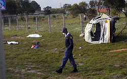 South Africa - Cape Town - 3 June 2020 - 12 were injured and 2 lost their lives after a taxi from Langa drove into a pole and overturned on the N2. It is believed the driver fled the scene on foot. Photographer: Ayanda Ndamane/African News Agency(ANA)