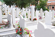 A graveyard with many recent tombs from the war with white tombstones. Along Marsala Tita Tito street. Historic town of Mostar. Town of Mostar. Federation Bosne i Hercegovine. Bosnia Herzegovina, Europe.