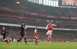 11 February 2017 Premier League Football : Arsenal v Hull City :<br /> Mesut Ozil of Arsenal shoots high over the Hull crossbar.<br /> Photo: Mark Leech