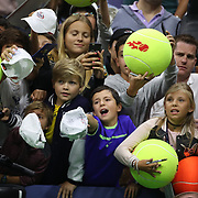 2017 U.S. Open Tennis Tournament - DAY TWO. Young fans wait for autographs of Rafael Nadalof Spain after his win against DusanLajovic of Serbia during the Men's Singles round one match at the US Open Tennis Tournament at the USTA Billie Jean King National Tennis Center on August 29, 2017 in Flushing, Queens, New York City.  (Photo by Tim Clayton/Corbis via Getty Images)