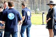 """Koningin Maxima bezoekt muziekproject 'Young Musicians Spread Their Wings'  voor jeugd van Koninklijke Luchtmach op vliegbasis Eindhoven. <br /> <br /> Queen Maxima visits musical project """"Young Musicians Spread Their Wings' youth of Royal Air Mach at Eindhoven Air Base.<br /> <br /> Op de foto / On the photo:  Koning Maxima bij een workshop 'slagwerk' bij de passenger terminal / King Maxima at a workshop 'percussion' at the passenger terminal"""