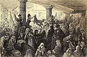 Le Mercado de la Llendre, a Burgos [Le Llendre Market, Burgos] Page illustration from the book 'Spain' [L'Espagne] by Davillier, Jean Charles, barón, 1823-1883; Doré, Gustave, 1832-1883; Published in Paris, France by Libreria Hachette, in 1874