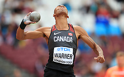 Canada's Damian Warner competes in the Men's Decathlon Shot Put during day eight of the 2017 IAAF World Championships at the London Stadium