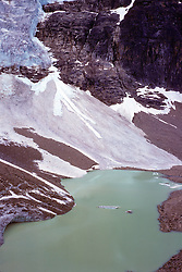 Mt Edith Cavell, Angel Glacier, and turquoise glacial lake. Jasper National Park, Canadian Rockies
