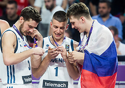 Goran Dragic of Slovenia, Matic Rebec of Slovenia and Luka Doncic of Slovenia celebrating at Trophy ceremony after winning during the Final basketball match between National Teams  Slovenia and Serbia at Day 18 of the FIBA EuroBasket 2017 when Slovenia became European Champions 2017, at Sinan Erdem Dome in Istanbul, Turkey on September 17, 2017. Photo by Vid Ponikvar / Sportida