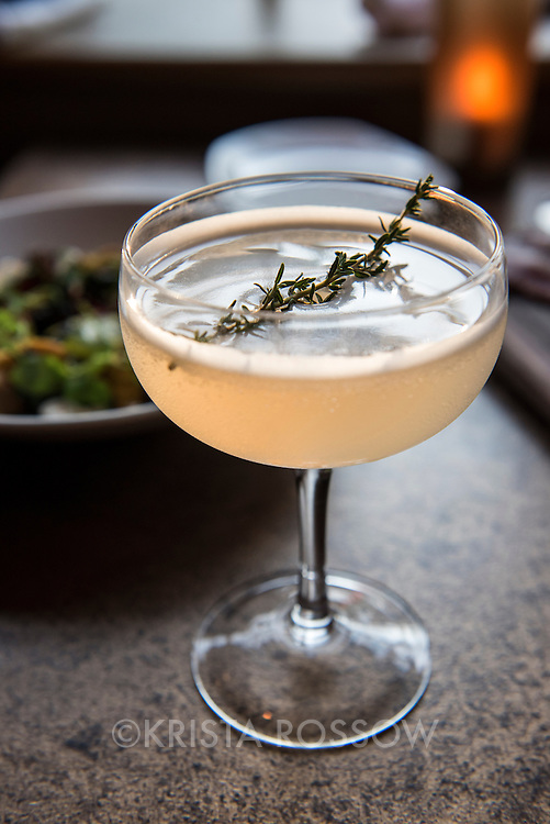 A craft cocktail at Chef Katie Button's restaurant Nightbell, which is located at 32 S Lexington Avenue in Downtown Asheville, North Carolina.