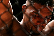 Kevin Lee looks down in defeat after losing to Tony Ferguson for the interim lightweight championship bout UFC 216 at T-Mobile Arena in Las Vegas, Saturday, Oct. 7, 2017. Ferguson won by submission. (Joel Angel Juárez / Las Vegas Review-Journal)