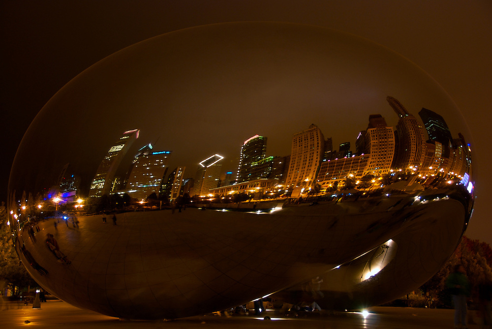 """Cloud Gate at Night in Millennium Park in Chicago, this popular sculpture is also called """"the bean"""""""