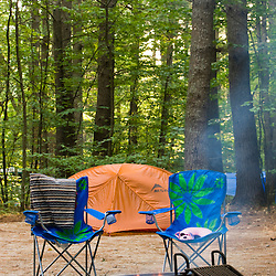 A morning camp scene in Greenfield State Park in Greenfield, New Hampshire.