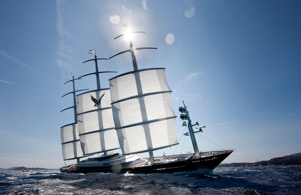 Perini Navi Cu. Sardinia. Italy..The SY Maltese Falcon in action on the first days racing.
