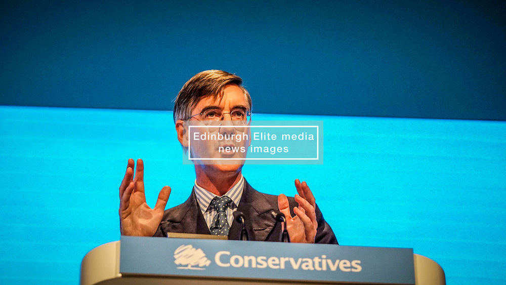 Pictured:  Leader of the House of Commons, Jacob Rees-Mogg  speaks  to delegates   on the first day at the Conservative Party Conference<br /> <br /> <br /> Giannis Alexopoulos   EEm 29/09/2019