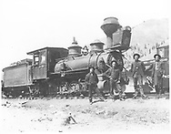 """RGS 2-8-0 #15 at Telluride.  L-R, are Wilfred Laube, Leo Croonenberghs, John Crum and John McDonald.<br /> RGS  Telluride, CO  6/1904<br /> In book """"Silver San Juan: The Rio Grande Southern"""" page 585<br /> Also in """"RGS Story Vol. II"""", p. 2 and 97 and """"The Rio Grande Southern Railroad"""", p. 319.<br /> Same image as RD155-158."""