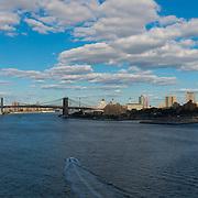 Aerial View Of Brooklyn Bridge, New York