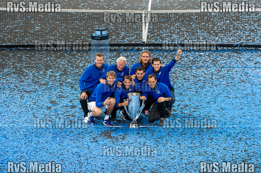 GENEVA, SWITZERLAND - SEPTEMBER 22: Roger Federer with the team Europe celebrates with the trophy during Day 3 of the Laver Cup 2019 at Palexpo on September 20, 2019 in Geneva, Switzerland. The Laver Cup will see six players from the rest of the World competing against their counterparts from Europe. Team World is captained by John McEnroe and Team Europe is captained by Bjorn Borg. The tournament runs from September 20-22. (Photo by Monika Majer/RvS.Media)