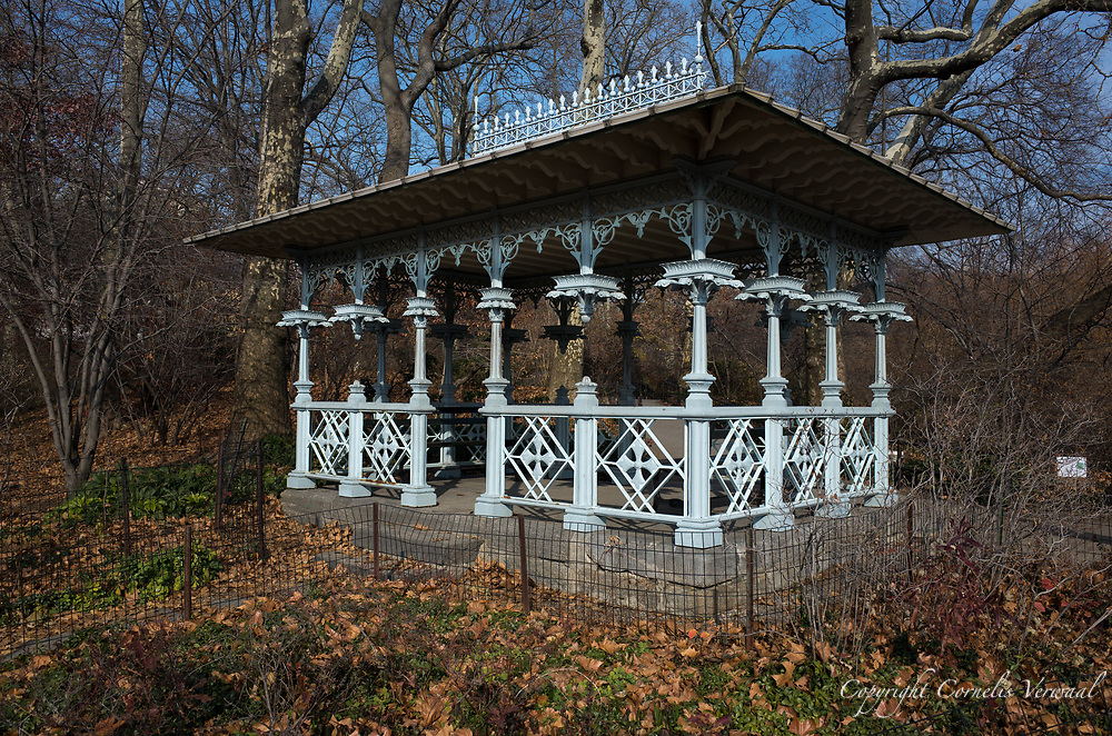 The Ladies Pavilion at the Hearnshead in Central Park,  designed by architect Jacob Wrey Mould in 1871 as a shelter for trolley passengers, originally sat near the Park's Eighth Avenueand 59th Street entrance. When construction began on the Maine Monument in 1912, the pavilion was relocated inside the Park.