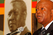 DURBAN - Jeff Radebe, South Africa's Minister in the Presidency, speaking on whether the country's constitution is an obstacle or catalyst for nation building at the annual CHief Albert Luthuli Memorial Lecture at the University of KwaZulu-Natal in Durban. Chief Albert Luthuli's portrait is in the background. Picture: Allied Picture Press/APP
