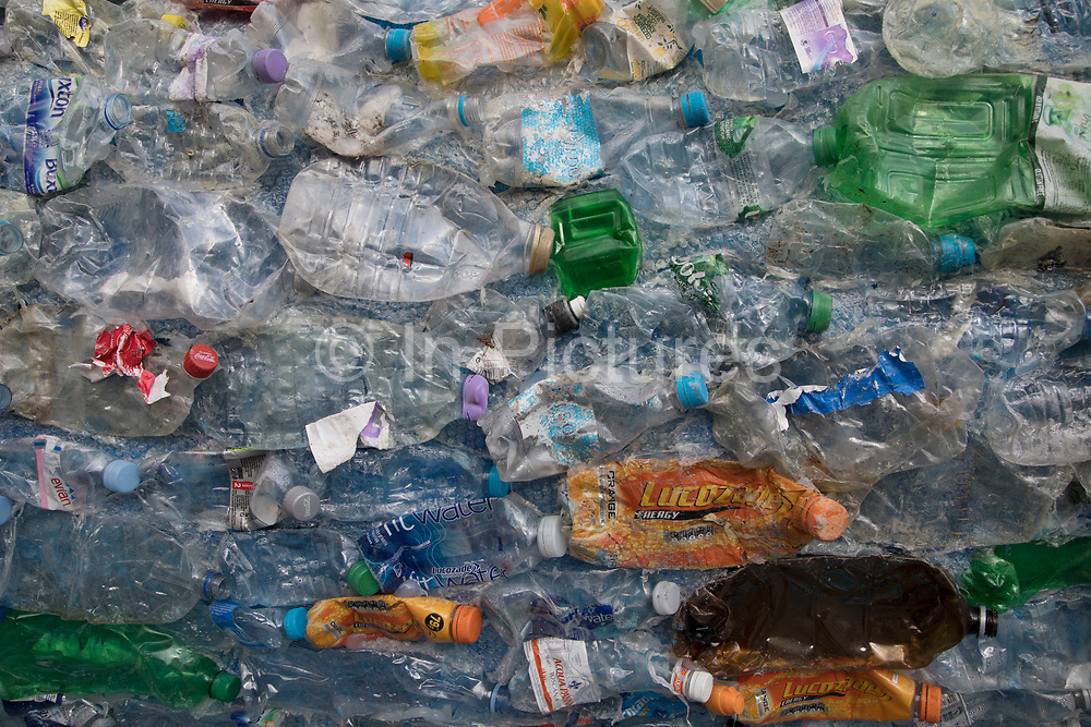 Close up of a plastic bottles encouraging people to take action against single use plastic and to promote knowledge about the environmental disaster affecting the World's oceans and seas on 6th February 2018 in London, England, United Kingdom. Sky Ocean Rescue campaign outside Parliament Sky Ocean Rescue aims to highlight issues affecting ocean health, find innovative solutions to the problem of ocean plastics, and inspire people to make small everyday changes that collectively make a huge difference.