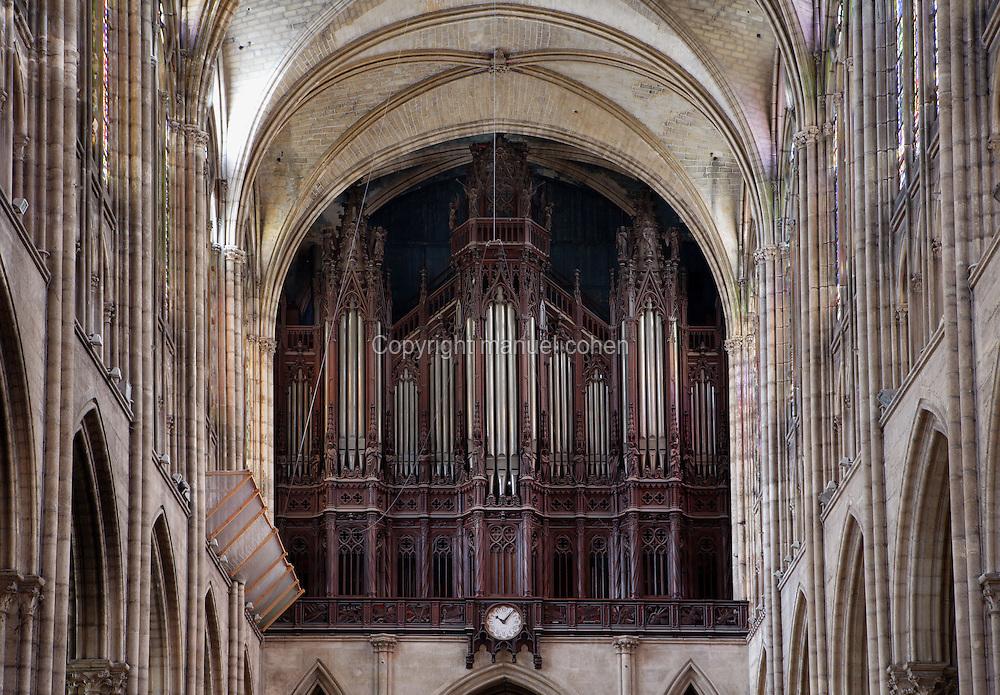Organ, Cavaille-Coll, 1841 - 1857 / Mutin, 1901 / Danion-Gonzalez, 1988, case designed by architect Francois Debret in 1836, Abbey church of Saint Denis, Seine Saint Denis, France. Picture by Manuel Cohen