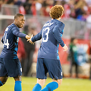 EAST HARTFORD, CONNECTICUT- October 16th: Josh Sargent #13 of the United States is congratulated by  Jonathan Amon #24 of the United States after scoring during the United States Vs Peru International Friendly soccer match at Pratt & Whitney Stadium, Rentschler Field on October 16th 2018 in East Hartford, Connecticut. (Photo by Tim Clayton/Corbis via Getty Images)