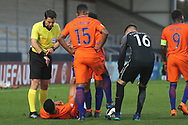 Elayis Tavsan of Netherlands (13) gets cramp during the UEFA European Under 17 Championship 2018 match between Netherlands and Spain at the Pirelli Stadium, Burton upon Trent, England on 8 May 2018. Picture by Mick Haynes.