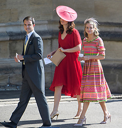 © Licensed to London News Pictures. 19/05/2018. London, UK. CRESSIDA BONAS (right), former girlfriend oaf Prince Harry. Guests arrive at The wedding of Prince Harry, The Duke of Sussex to Meghan Markle, The Duchess of Sussex, at St George's Chapel in Windsor. Photo credit: Ben Cawthra/LNP