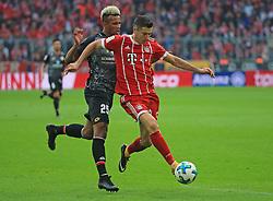 20170916, 1.BL. FCB vs Mainz 05, 1.Bundesliga, Allianz Arena Muenchen, Fussball, Sport, im Bild:...Jean Philippe Gbamin (Mainz 05) vs Robert Lewandowski (FCB)..*Copyright by:  Philippe Ruiz..Postbank Muenchen.IBAN: DE91 7001 0080 0622 5428 08..Oberbrunner Strasse 2.81475 MŸnchen, .Tel: 089 745 82 22, .Mobil: 0177 29 39 408..( MAIL:  philippe_ruiz@gmx.de ) ..Homepage: www.sportpressefoto-ruiz.de. (Credit Image: © Philippe Ruiz/Xinhua via ZUMA Wire)