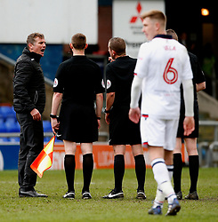 Bolton Wanderers manager Phil Parkinson argues with the referee at full time - Mandatory by-line: Matt McNulty/JMP - 15/04/2017 - FOOTBALL - Boundary Park - Oldham, England - Oldham Athletic v Bolton Wanderers - Sky Bet League 1