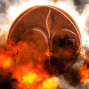 Digitally enhanced image pf a One New Israeli Shekel coin (ILS or NIS)