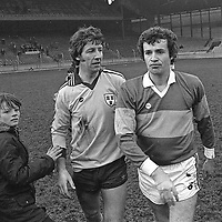 Dublin's Gay O'Driscoll, centre, pictured with Kerry's Mikey Sheehy, right, at Croke Park. 1981. Photograph: Ray McManus SPORTSFILE.
