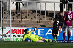 Clyde's Chris Johnston (7) scoring their first half goal. half time : Arbroath 0 v 1 Clyde, Tunnocks Caramel Wafer Challenge Cup 4th Round, played 12/10/2019 at Arbroath's home ground, Gayfield Park.