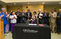 Governor Chris Sununu at LRGH.  (Karen Bobotas/for the Laconia Daily Sun)