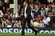 Fulham Manager Slavisa Jokanovic walks towards the dugout prior to kick off of the second half. EFL Skybet championship match, Fulham v Middlesbrough at Craven Cottage in London on Saturday 23rd September 2017<br /> pic by Steffan Bowen, Andrew Orchard sports photography.