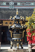 View of a traditional Chinese incense burner at the City God Temple, Zhujiajiao, Shanghai, China