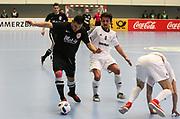 Futsal: Deutsche Meisterschaft 2016, Finale, Hamburg Panthers - FC Liria 4:2, Hamburg, 09.04.2016<br /> Jubel Hamburg Panthers mit Meisterschale<br /> © Torsten Helmke