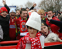 Photo: Rich Eaton.<br /> <br /> Tamworth FC v Norwich City. The FA Cup. 06/01/2007. Tamworth fans have a mock up of Delia Smith at the start of the game