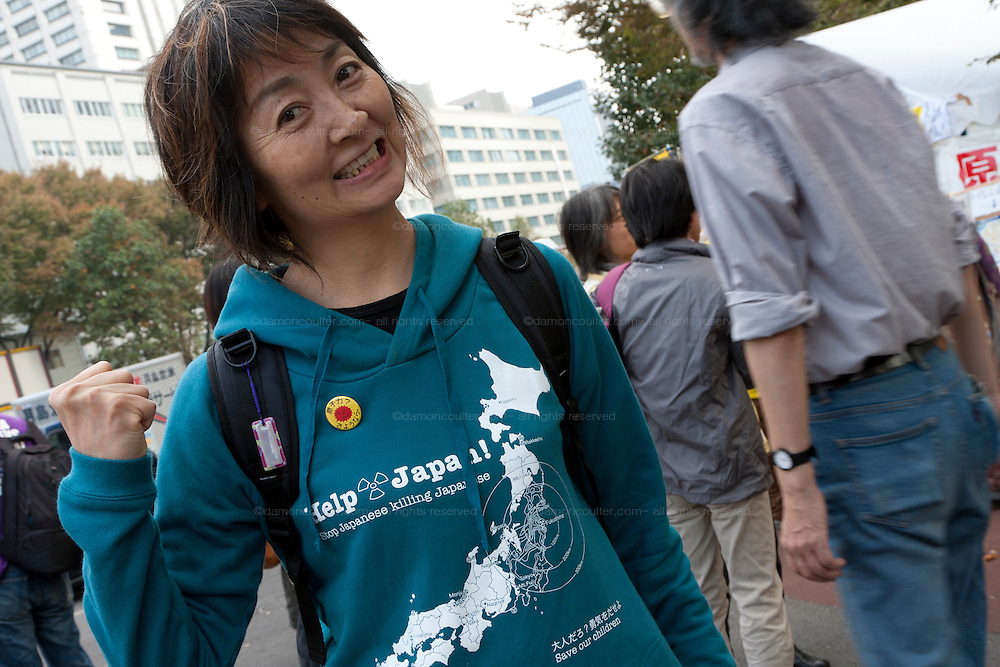 Keiko Ogata who came to japan from Brazil to attend the Anti nuclear protest by women outside the Ministry of Economy, Trade and Industry (METI) in Tokyo Japan. Friday November 4th 2011. The protest ran from October 27th to Noverber 5th. Originally started my mothers from Fukushima protesting about nuclear contamination from October 30th to November 5th the protest welcomed women and people from all over Japan.