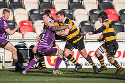 Newport's Nick Boyce is tackled by Ebbw Vale's Rhys Clarke - Mandatory by-line: Craig Thomas/Replay images - 04/02/2018 - RUGBY - Rodney Parade - Newport, Wales - Newport v Ebbw Vale - Principality Premiership
