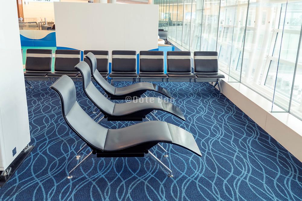 empty relaxing modern designers seats at Hanada airport