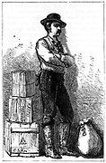 A Wells Fargo messenger from their Express Delivery service via the Isthmus of Panama. From 'Harper's New Monthly Magazine' New York 1875. Wood engraving