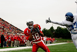 13 October 2007:  Kevett Mickle captures a pass in the endzone for a touchdown as Warren English-Malone tries to block. The Indiana State Sycamores were jacked 69-17 by the Illinois State Redbirds at Hancock Stadium on the campus of Illinois State University in Normal Illinois.