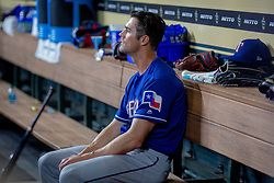 April 13, 2018 - Houston, TX, U.S. - HOUSTON, TX - APRIL 13: Texas Rangers starting pitcher Cole Hamels (35) on the bench in the first inning during an MLB game between the Houston Astros and the Texas Rangers and April 13, 2018 at Minute Maid Park in Houston, TX.  (Photo by Juan DeLeon/Icon Sportswire) (Credit Image: © Juan Deleon/Icon SMI via ZUMA Press)
