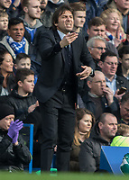 Football - 2016 / 2017 Premier League - Chelsea vs. Arsenal <br /> <br /> Chelsea Manager Antonio Conte snarls as he tries to get across his message to his team at Stamford Bridge.<br /> <br /> COLORSPORT/DANIEL BEARHAM
