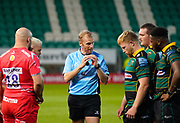 Referee Wayne Barnes instructs the players on their scrummaging during the Gallagher Premiership Rugby match Northampton Saints -V- Sale Sharks at Franklin's Gardens, Northamptonshire ,England United Kingdom, Tuesday, September 29, 2020. (Steve Flynn/Image of Sport)