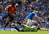 Picture: Henry Browne.<br /> Date: 25/04/2004.<br /> Birmingham City v Wolverhampton Wanderers FA Barclaycard Premiership.<br /> <br /> Mikael Forssell of City beats Paul Jones to score City's equaliser.