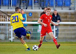 BANGOR, WALES - Saturday, November 17, 2018: Wales' Luke Jephcott during the UEFA Under-19 Championship 2019 Qualifying Group 4 match between Sweden and Wales at the Nantporth Stadium. Aiham Ousou (Pic by Paul Greenwood/Propaganda)