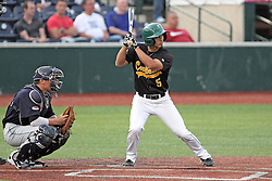 06 July 2013:  Matt Mirabal catching with Keoni Manago batting during a Frontier League Baseball game between the Gateway Grizzlies and the Normal CornBelters at Corn Crib Stadium on the campus of Heartland Community College in Normal Illinois